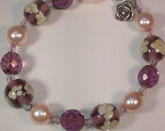 Lampwork Glass Bracelet, Purple Flower Bracelet, Rose Dangle, Silver Plated