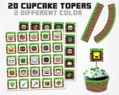 Minecraft Cupcake Topper 2 color variations, Minecraft Topper, Minecraft Cupcake Wrapper, Minecraft Food Minecraft Birthday