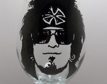 Motley Crue, Nikki Sixx, Hand painted glass, Painted wine glass