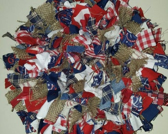 Americana Rag Wreath, Rag Wreath, Patriotic Wreath, Red White and Blue Wreath, Fourth of July, 4th of July Wreath