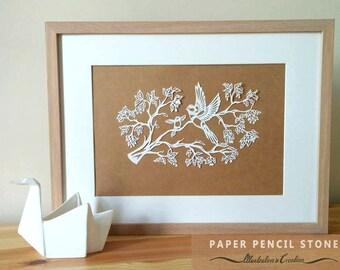 Mother Bird Papercut Template. Teach Encourage. Second of a Set of Three