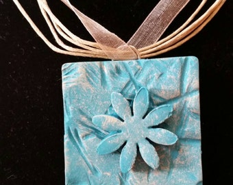 Beautiful Aqua Clay Pendant Necklace with Flower