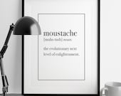 MOUSTACHE Definition Print | Man Cave Decor | Art Print | Home Decor | Kitchen Wall Art | Office Art | Funny Art | Fuzzy and Birch