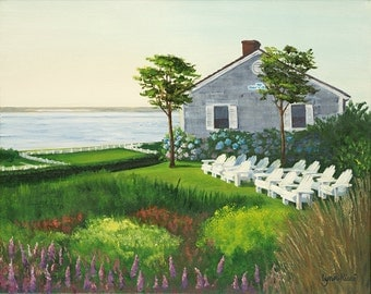 Fine Art Print - Chatham beach house - Chatham Bars Inn, Summer, Cape Cod, painting