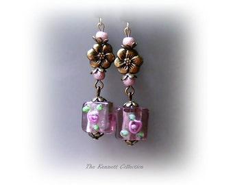 Dusky Pink Mauve vintage style bronze long drop earrings, clip on or pierced