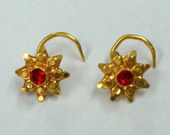18k traditional design gold nose stud nosepin earrings set rajasthan india