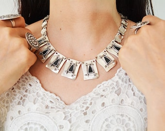 DISCOUNT black Antique Silver plated Choker necklace, big sale  authentic jewelry, Tribal statement Ethnic Turkish enamel, clearance,cleanup