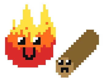 Log and Fire Cross Stitch PDF Pattern