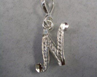 Letter N initial pendant charm in sterling silver