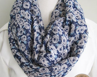 Grey White Flower Infinity Scarf, Soft, Lightweight, Loop Scarf, Long Scarf, Fall and Spring Scarf, Blue Scarf, Grey flowers Navy Blue Scarf