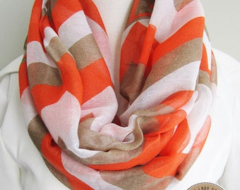 Modern Orange Printed, Soft, Lightweight, Loop Scarf, Infinity Scarf for Spring and Fall