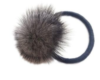 Real mink fur fluffy big gray pom pom hair scrunchie ponytail holder