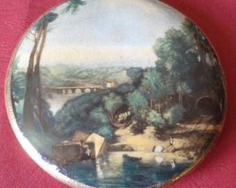 Antique Painted Pot Lid