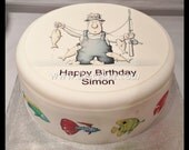 Personalised Fishing Fisherman pre-cut large round edible icing cake topper, cupcake toppers &/Or edible ribbon for Birthday Cake 01