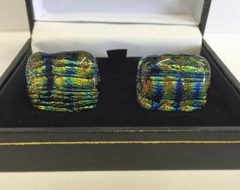 Cufflinks Handmade with Dicloric Glass