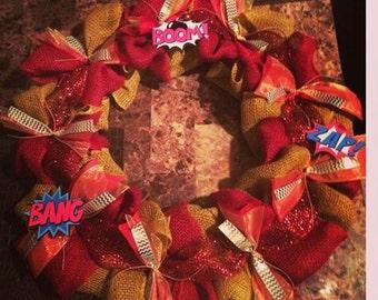 Superhero / Superman Themed Wreath with Comic Book Sayings