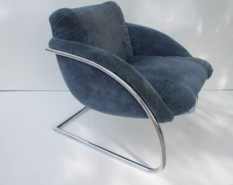 Gorgeous Cantilevered Chrome Accent Chair .