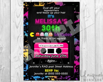 80s Birthday Invitation- Personalized- DIGITAL- 80s Birthday Invite- 80s- Printable