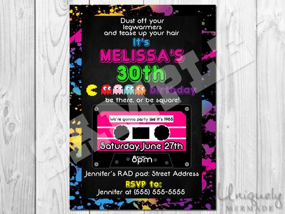 80s Birthday Party Invitation