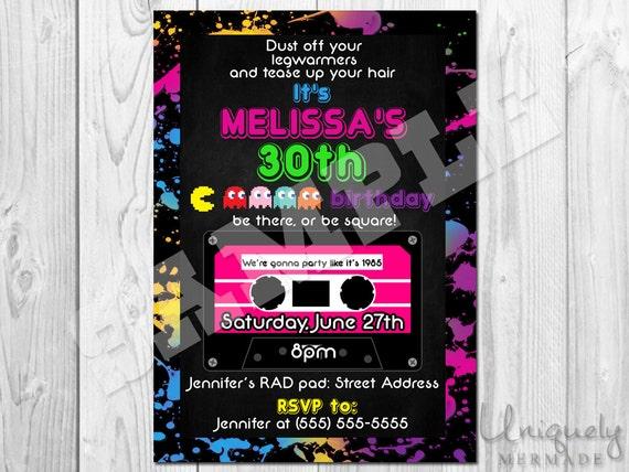 80s Birthday Party Invitation