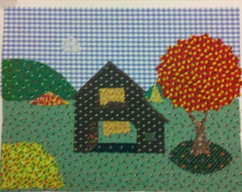 patchwork picture - farmhouse tree landscape - 11 by 14 standard size for framing