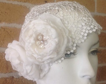 Madeline; Juliet bridal cap, bandeau bridal cap, bridal accessories, headpiece, bridal cap