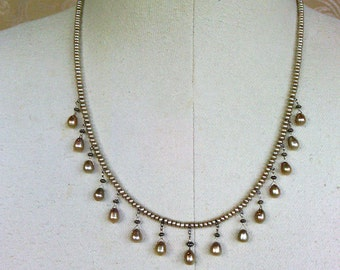 necklace with pearl briolettes and button pearls