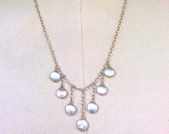 necklace with silver coin pearls