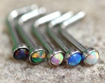 Fire Opal L-Shape Surgical Steel Nose Stud - UK Seller