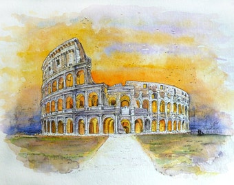 Watercolour of the Coliseum in Rome