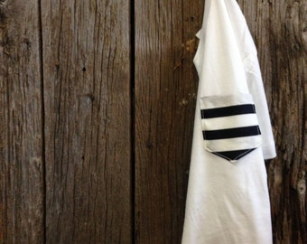 Navy and White Striped Pocket Tee - Summer Whites