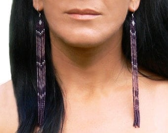 Very Long Earrings. Beaded Fringe Extra Long Earrings. Shoulder Dusters. Long Purple Earrings. Beadwork