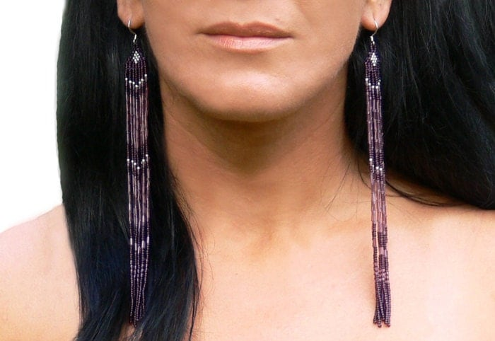 very long earrings beaded fringe extra long earrings