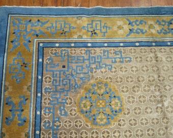 Antique Decorative Chinese Art deco Peking Rug Size 8'1''x10'6''