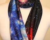 Galaxy Print Design Infinity Scarf Jersey or Chiffon Fabric Unisex Fashion Loop Scarf