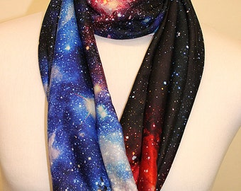 Galaxy Print Design Infinity Scarf Jersey or Chiffon Fabric Unisex Fashion Loop Scarf