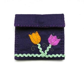 Felt ornament gift felt purse flowers handmade small applique embroidery purple violet