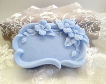 TWO Floral Frame Soaps, Buttermilk soap in your choice of color /scent, fancy soap,  decorative soap, gift soap, luxury soap, hostess gift