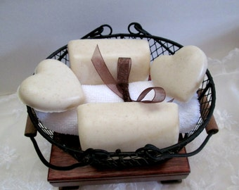 Oatmeal Soap in a black wire farm basket, great gift for the man in your life, soap gift basket, handmade soap, decorative soap, custom soap