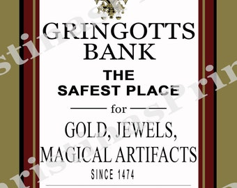 Gringott's Wizarding Bank ~ Instant Download