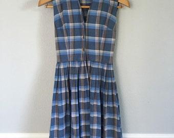 1950s Blue Plaid Rockabilly Dress / Size Small- XSmall