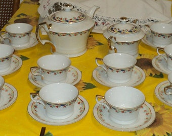 Vintage ceramic tea set for 12 people