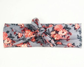 Coral Floral Headbands- All Sizes Available, Newborn to Adult