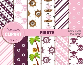 Pink pirate digital paper, pirate girl digital paper, pirate party, scrapbooking, commercial use - PAP140