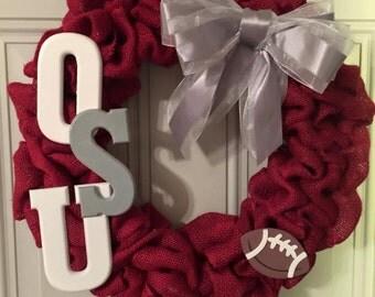 Ohio state burlap wreath/football wreath/fall wreath/sports wreath
