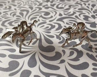 Horse Rider Animal Jockey Gift Wedding Cufflinks