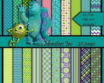 digital scrapbook paper Monster Inc clip art set of 20 scrapbook papers pack teals greens purples papers