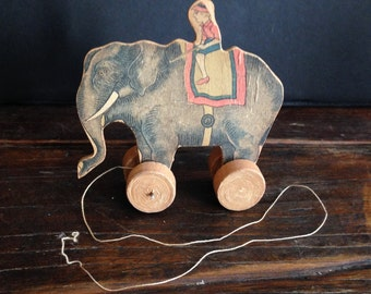 Antique elephant pull toy - made in japan