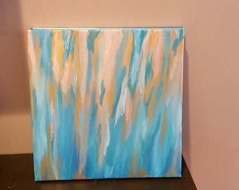 Metallic Blues, Golds, and Whites abstract, 12x12 acrylic painting on canvas by Devin Roscillo