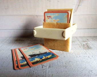 Art Deco Celluloid Card Case with Ship Design, Early plastic Card Case 1930s